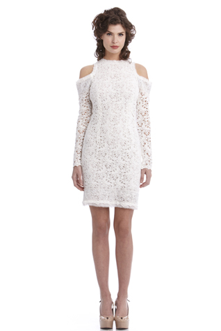 Open Shoulder Lace Dress with Beaded Trim