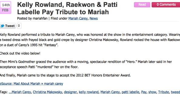 Christina Makowsky featured on Mariah Fan Page
